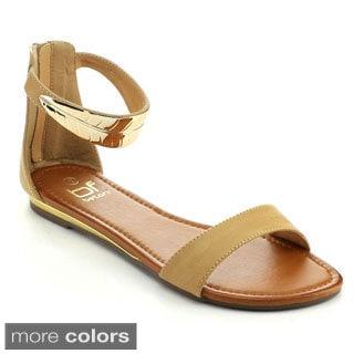 Betani Women's Winnie-4 Casual Metal Leaf Flat Sandals