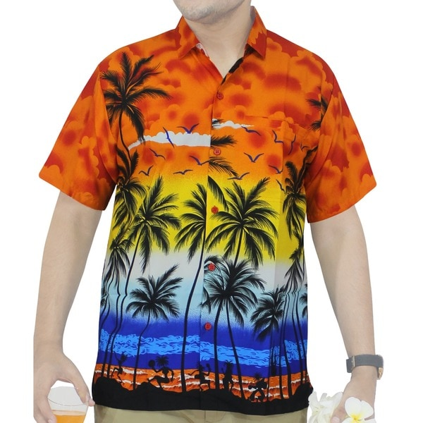 La Leela Beach Men's Orange Hawaiian Printed Shirt
