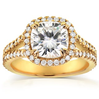 Annello 14k Yellow Gold Cushion-cut Moissanite and 1/2ct TDW Halo Diamond Ring (G-H, I1-I2)