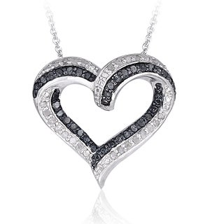 DB Designs Silvertone 1/2ct TDW Diamond Open Heart Necklace