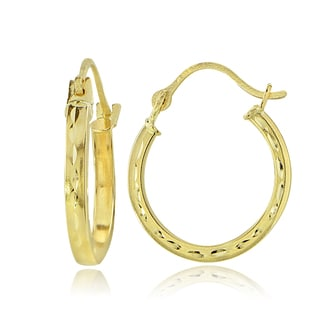 Mondevio 14K Gold 1.6mm Square Tube Diamond-Cut Hoop Earrings, 15mm