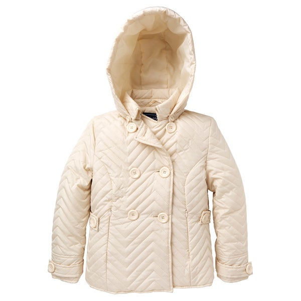 Rothschild Girls' Quilted Double Breasted Jacket with Removable Hood