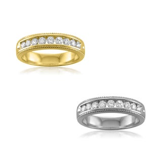 14k Yellow or White Gold 1/2ct TDW Round-cut Channel-set Milgrain Wedding Band (G-H, SI1)