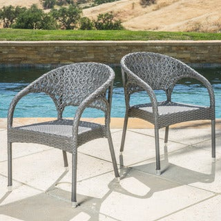 Christopher Knight Home Starburst Outdoor Wicker Armhair (Set of 2)