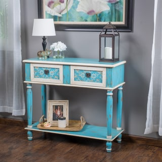 Christopher Knight Home Rainier Two-Drawer Blue Wood Console Table