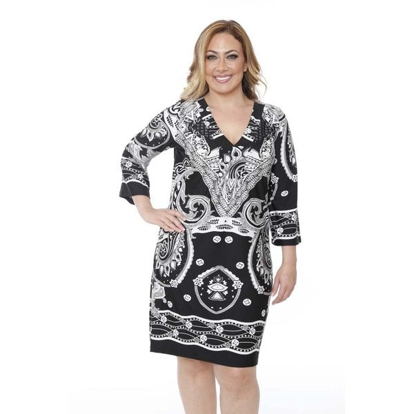 Women's Plus-size 'Madelyn' Black/ White Bandana Print Dress