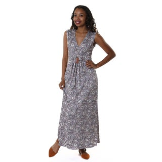 Hadari Women's Contemporary V-Neck Paisley Maxi Dress