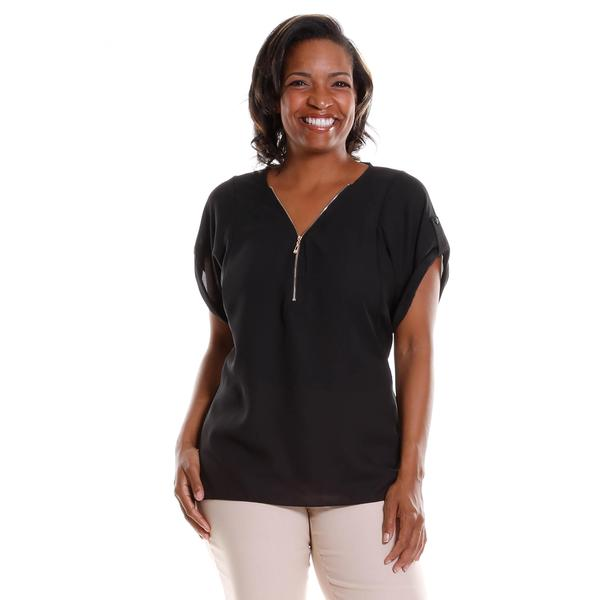 Hadari Women's Plus Size Zip-Front Blouse