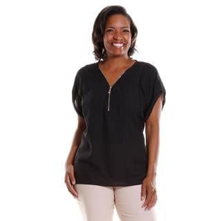 Hadari Women's Plus Size Zip-Front Blouse
