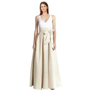 Aidan Mattox Women's Beige Satin Sleeveless V-neck Formal Evening Gown