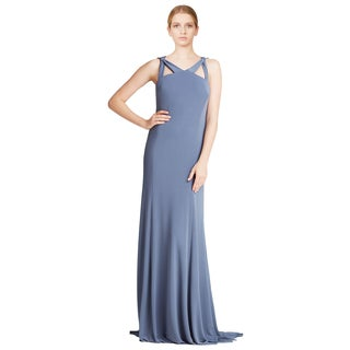 Vera Wang Women's Pewter Sleeveless Cut-out Matte Jersey Formal Evening Dress