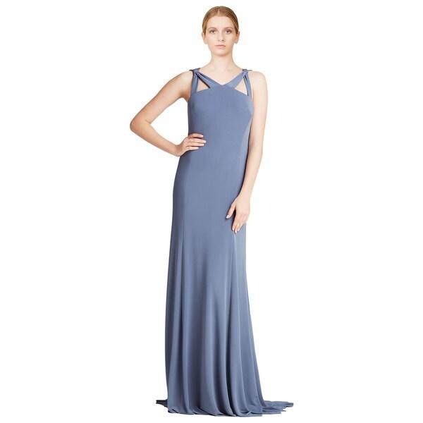 Vera Wang Women's Pewter Sleeveless Cut-out Matte Jersey Formal Evening Dress