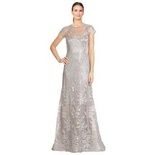 Teri Jon Women's Silver Metallic Embroidered Lace Cap Sleeve Evening Dress