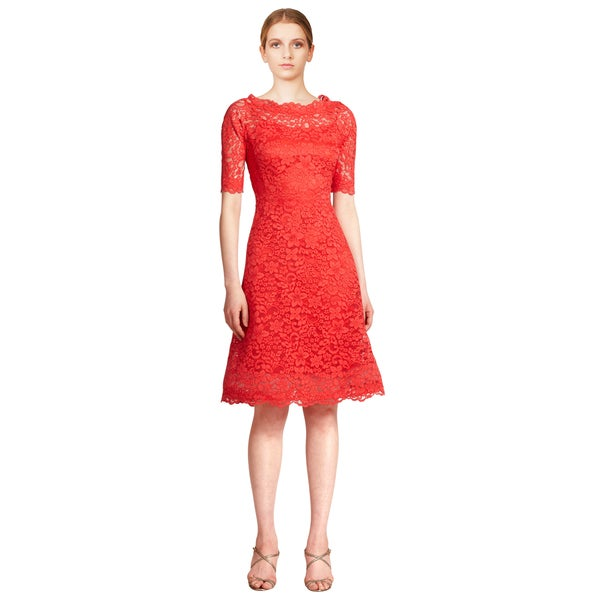 Teri Jon Women's Red Floral Scalloped Lace 3/4 Sleeve Flared Cocktail Evening Dress