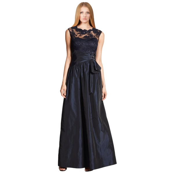 Teri Jon Women's Blue Taffeta Floral Sequin Lace Jeweled Evening Dress