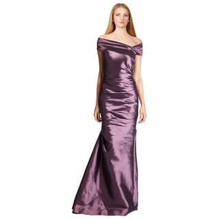 Teri Jon Women's Purple Ruched Jeweled Off Shoulder Taffeta Evening Dress