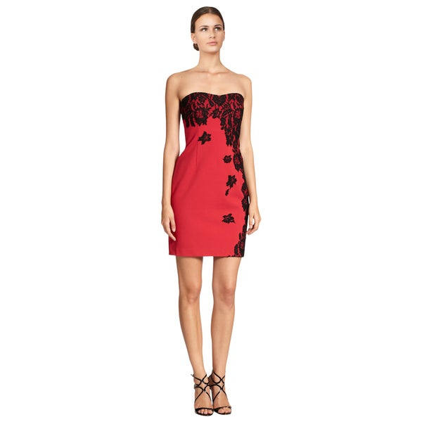 Aidan Mattox Women's Ruby Red Lace Applique Strapless Cocktail Evening Dress