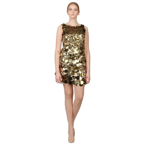 Aidan Mattox Women's Metallic Gold Paillete Sequin Sheath Cocktail Evening Dress