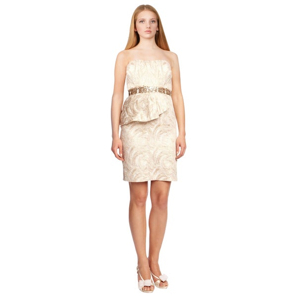 Aidan Mattox Women's Ivory Copper Strapless Peplum Sequined Cocktail Evening Dress