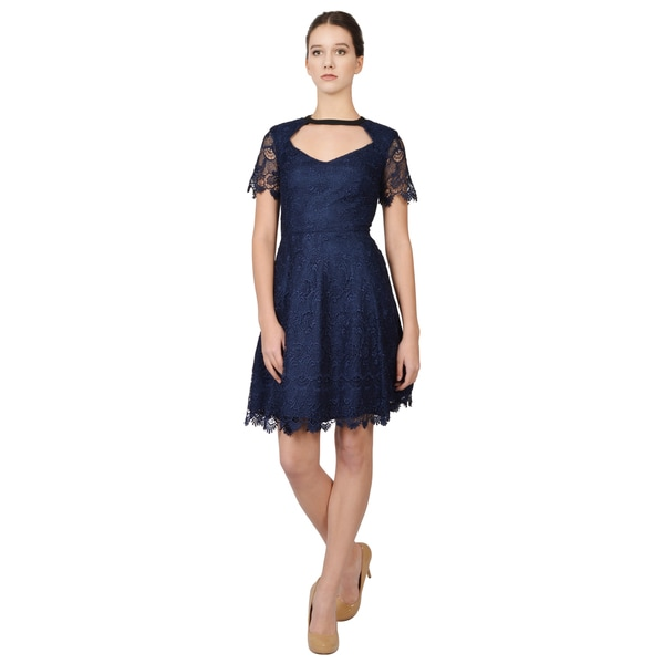 A.B.S. Women's Blue Chandelier Lace Dress Cut-out Short Sleeve Cocktail Evening Dress