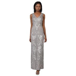 Sue Wong Women's Silver Draped Back Chiffon Sequin Embellished Evening Dress