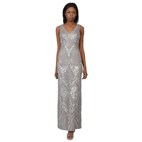 Sue Wong Women's Silver Draped Back Chiffon Sequin Embellished Evening Dress