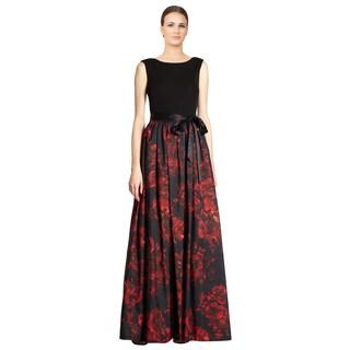 Aidan Mattox Women's Rose Printed Taffeta Sleeveless V-back Formal Evening Dress