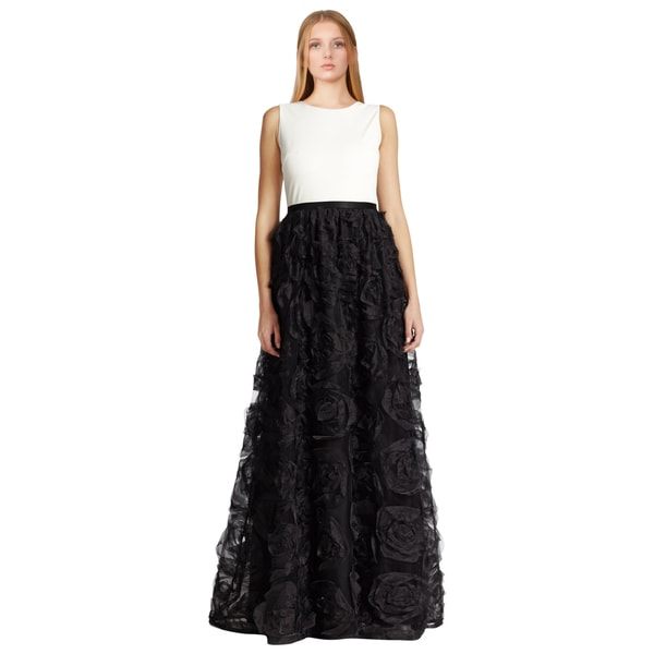 Aidan Mattox Women's Black Combo Silk Rosette Jersey Formal Evening Dress