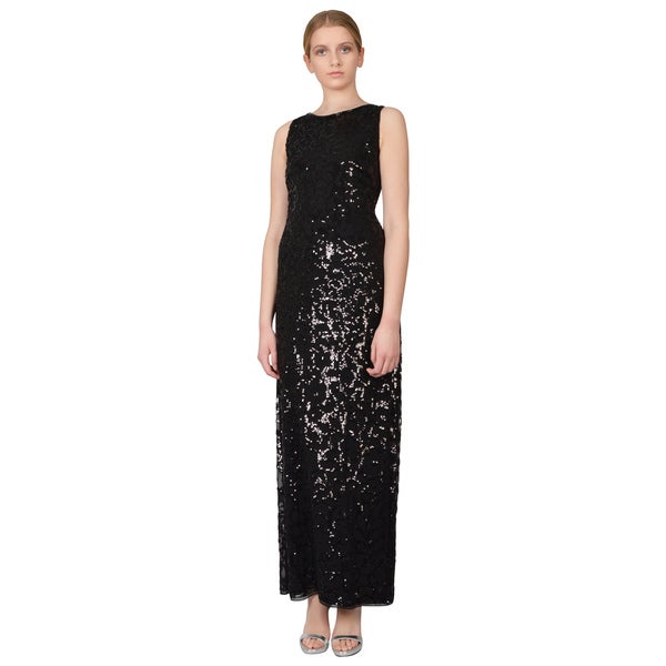 Aidan Mattox Women's Black Floral Pattern Sequin V-Back Column Evening Dress