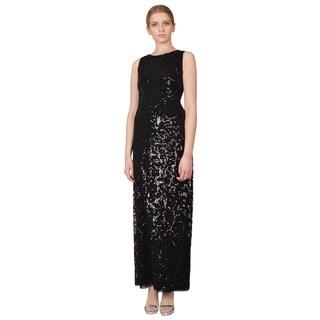 Aidan Mattox Women's Black Floral Pattern Sequin V-Back Column Evening Dress