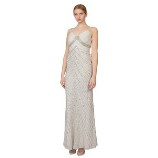 Adrianna Papell Women's Ivory Beaded Ruched Chiffon Bridal Evening Dress