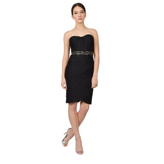 Adrianna Papell Women's Black Ruched Strapless Sweetheart Cocktail Evening Dress