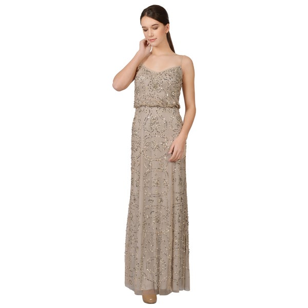 Adrianna Papell Women's Beige Beaded Blouson Spaghetti Strap Evening Dress