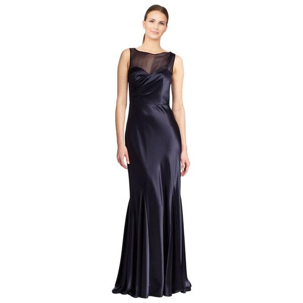 ABS by Allen Schwartz Women's Blue Sheer Yoke Ruched Satin Evening Dress