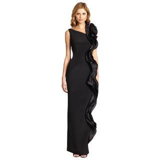 Teri Jon Women's Black Contrast Ruffle Asymmetric Formal Column Evening Dress