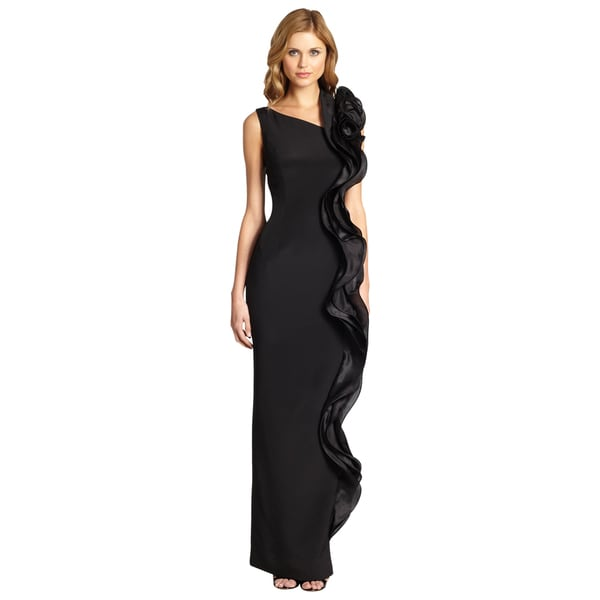 Teri Jon Women's Black Contrast Ruffle Asymmetric Formal Column Evening Dress
