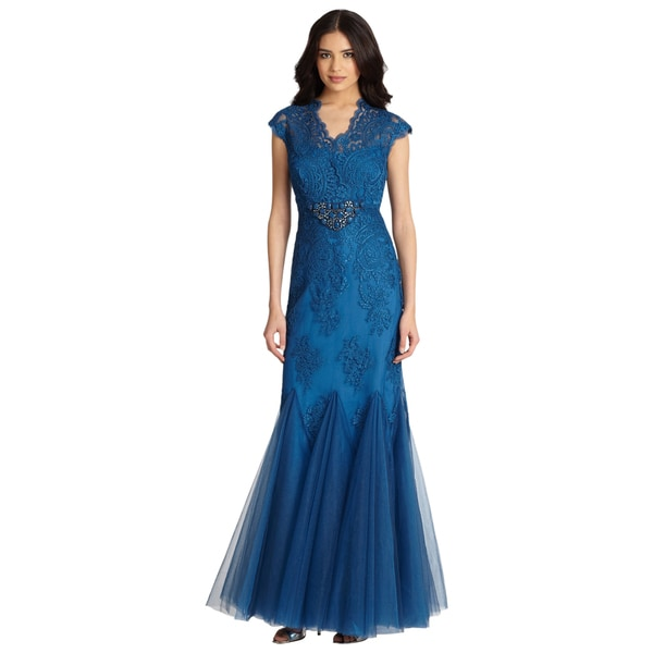 Teri Jon Women's Teal Blue Lace Bodice Cap Sleeve Rhinestone Evening Dress