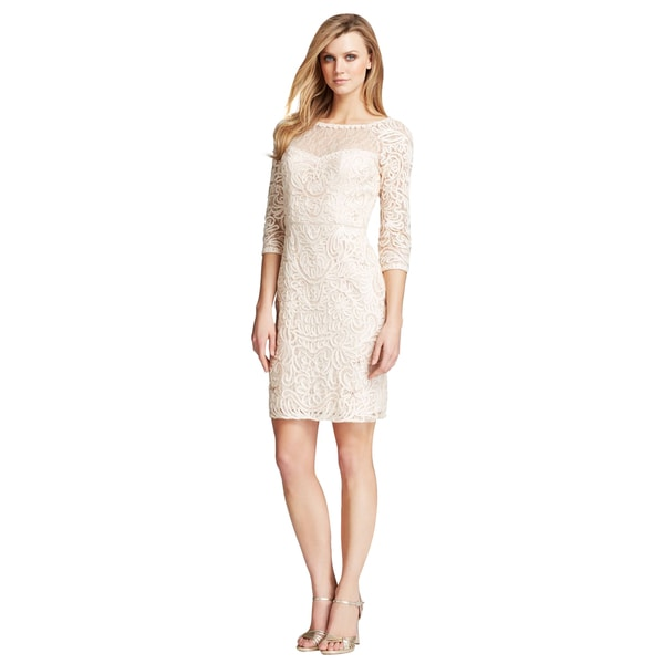 Sue Wong Women's Blush Three Quarter Sleeve Lace Illusion Neckline Cocktail Dress