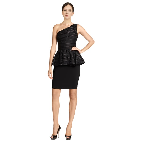 Halston Heritage Women's Black Asymmetric Striped One Shoulder Peplum Cocktail Party Dress