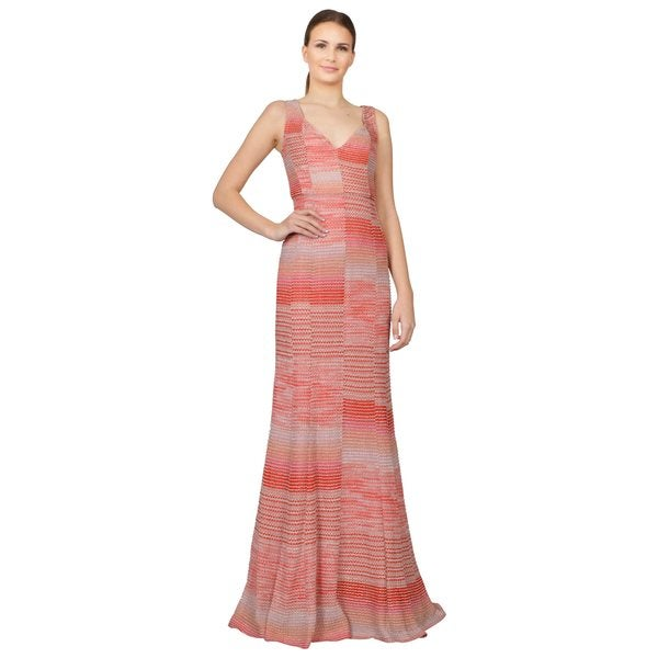 Missoni Women's Zig-zag Coral Stretch Knit Panelled V-neck Evening Dress