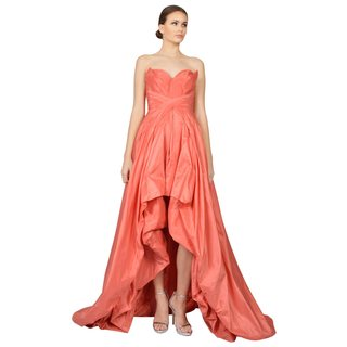 Oscar De La Renta Women's Coral Taffeta Strapless Sweetheart Formal Evening Dress