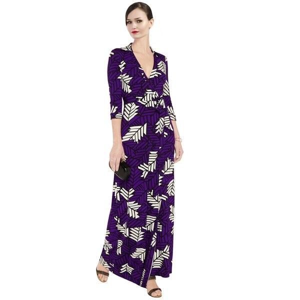 Diane Von Furstenberg Women's Purple Abigail Stretch Jersey Wrap Cocktail Dress