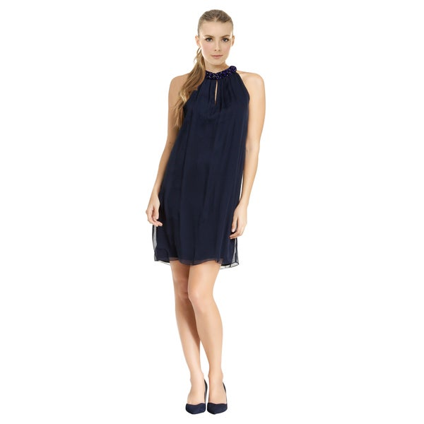 Diane Von Furstenberg Women's Lainey Admiral Navy Embellished Drape Cocktail Evening Dress
