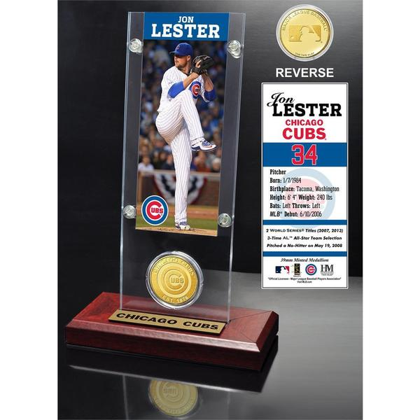 Jon Lester Ticket and Bronze Coin Acrylic Desk Top