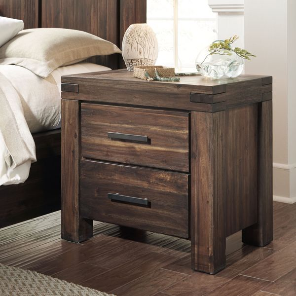 Wire Brushed Two-drawer Solid Wood Nightstand