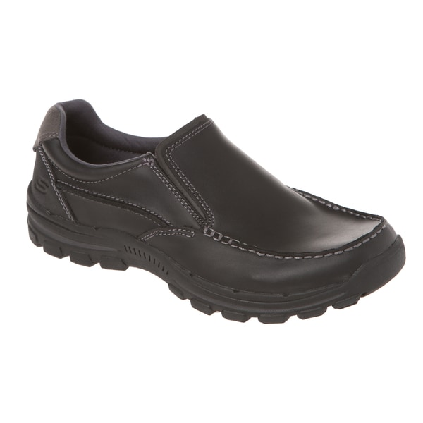 Skechers USA Relaxed Fit Leather Moc Toe Gel Infused Memory Foam Slip-on