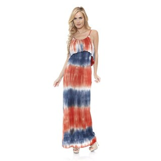 White Mark Women's 'Kalea' Tie Dye Overlay Maxi Dress