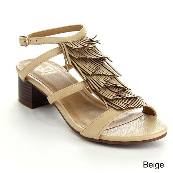 Betani Women's Maya-02 Tassel Peep-toe Ankle Strap Slingback Heels
