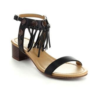 Betani Women's Maya-01 Slingback Chunky Peep-toe Strappy Heels