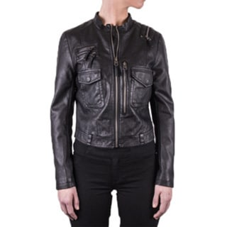 Women's Perforated Faux Leather Jacket
